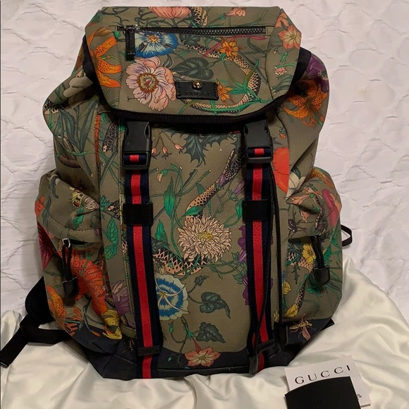Gucci Backpack Snake Animal Floral Printed 06895bdb198d1